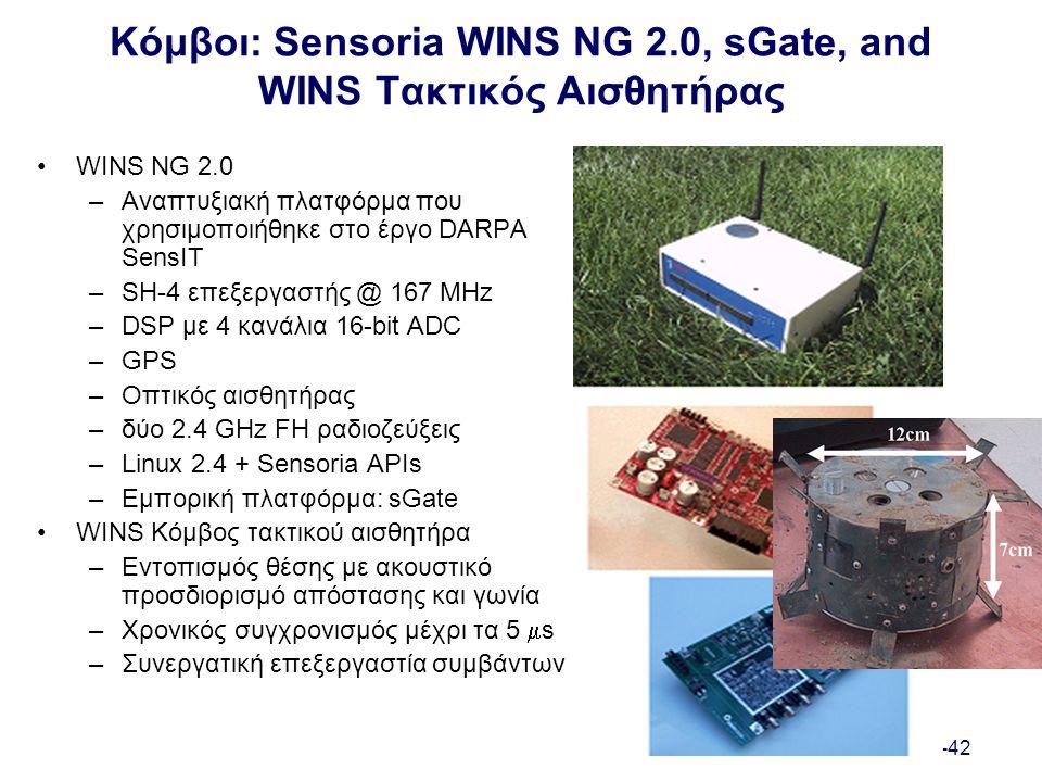 I-42 Κόμβοι: Sensoria WINS NG 2.0, sGate, and WINS Τακτικός Αισθητήρας WINS NG 2.0 –Αναπτυξιακή πλατφόρμα που χρησιμοποιήθηκε στο έργο DARPA SensIT –SH-4 επεξεργαστής @ 167 MHz –DSP με 4 κανάλια 16-bit ADC –GPS –Οπτικός αισθητήρας –δύο 2.4 GHz FH ραδιοζεύξεις –Linux 2.4 + Sensoria APIs –Εμπορική πλατφόρμα: sGate WINS Κόμβος τακτικού αισθητήρα –Εντοπισμός θέσης με ακουστικό προσδιορισμό απόστασης και γωνία –Χρονικός συγχρονισμός μέχρι τα 5  s –Συνεργατική επεξεργαστία συμβάντων