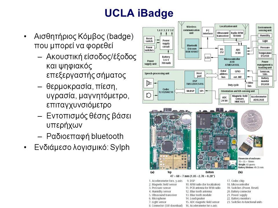I-49 UCLA iBadge Αισθητήριος Κόμβος (badge) που μπορεί να φορεθεί –Ακουστική είσοδος/έξοδος και ψηφιακός επεξεργαστής σήματος –θερμοκρασία, πίεση, υγρασία, μαγνητόμετρο, επιταγχυνσιόμετρο –Εντοπισμός θέσης βάσει υπερήχων –Ραδιοεπαφή bluetooth Ενδιάμεσο λογισμικό: Sylph