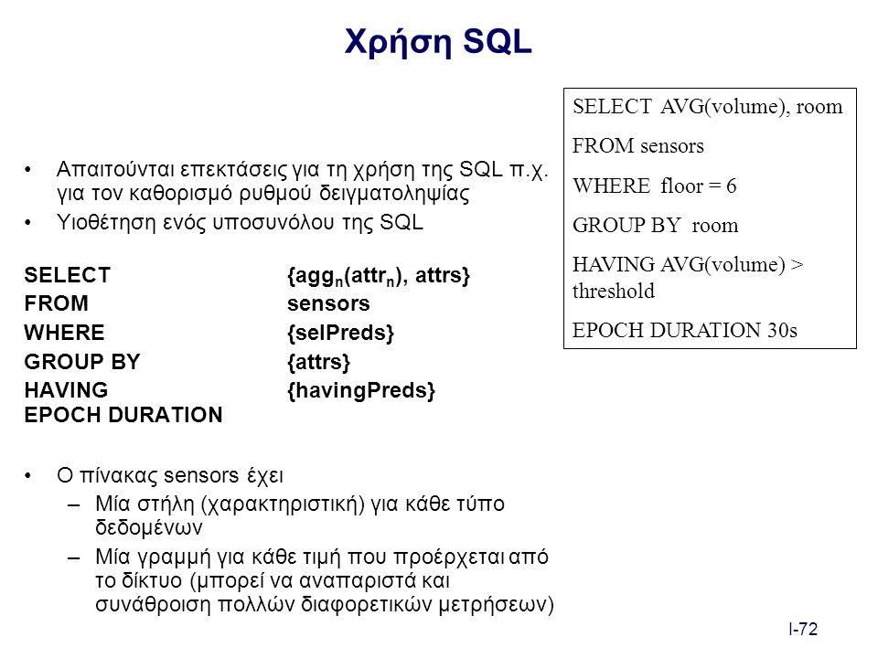 I-72 Χρήση SQL Απαιτούνται επεκτάσεις για τη χρήση της SQL π.χ.
