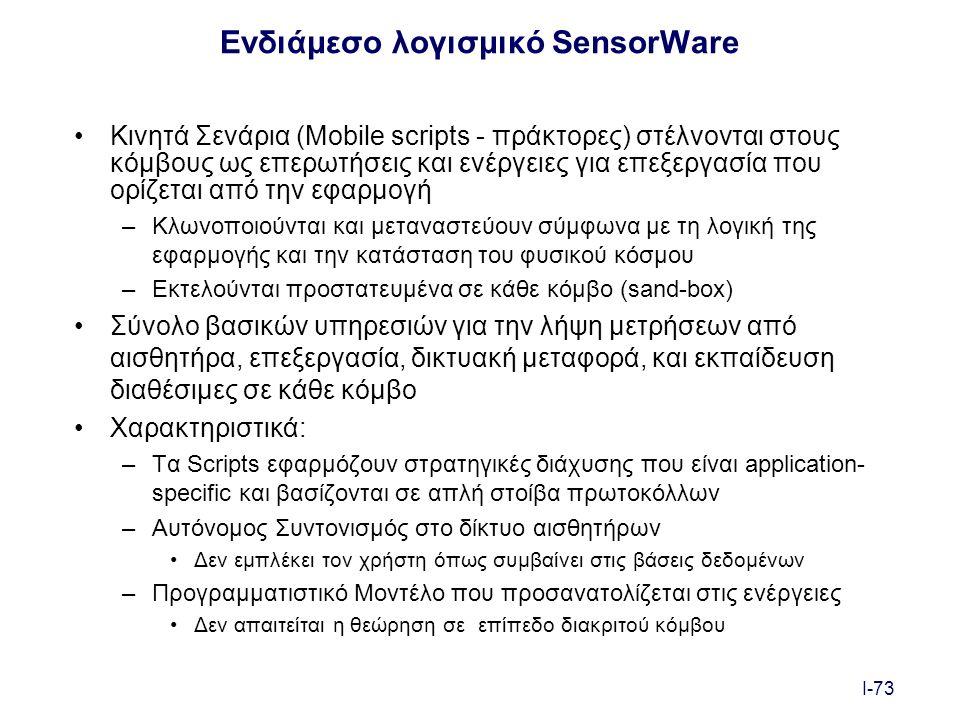 I-73 Ενδιάμεσο λογισμικό SensorWare Κινητά Σενάρια (Mobile scripts - πράκτορες) στέλνονται στους κόμβους ως επερωτήσεις και ενέργειες για επεξεργασία που ορίζεται από την εφαρμογή –Κλωνοποιούνται και μεταναστεύουν σύμφωνα με τη λογική της εφαρμογής και την κατάσταση του φυσικού κόσμου –Εκτελούνται προστατευμένα σε κάθε κόμβο (sand-box) Σύνολο βασικών υπηρεσιών για την λήψη μετρήσεων από αισθητήρα, επεξεργασία, δικτυακή μεταφορά, και εκπαίδευση διαθέσιμες σε κάθε κόμβο Χαρακτηριστικά: –Τα Scripts εφαρμόζουν στρατηγικές διάχυσης που είναι application- specific και βασίζονται σε απλή στοίβα πρωτοκόλλων –Αυτόνομος Συντονισμός στο δίκτυο αισθητήρων Δεν εμπλέκει τον χρήστη όπως συμβαίνει στις βάσεις δεδομένων –Προγραμματιστικό Μοντέλο που προσανατολίζεται στις ενέργειες Δεν απαιτείται η θεώρηση σε επίπεδο διακριτού κόμβου
