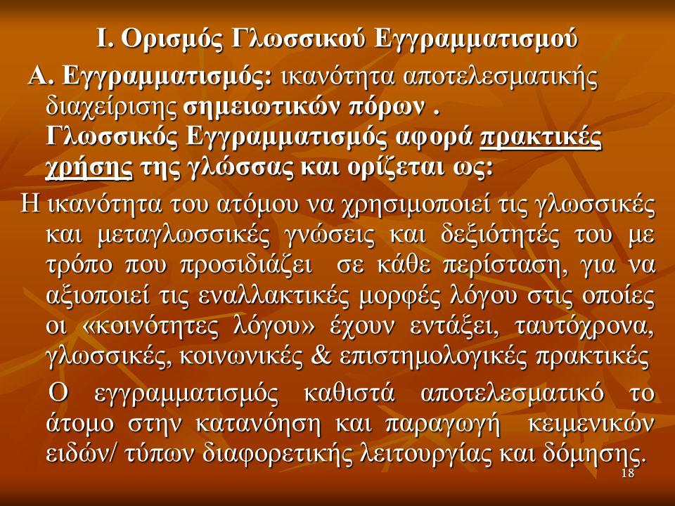 18 Ι. Ορισμός Γλωσσικού Εγγραμματισμού Α.