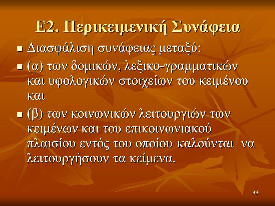 Ε2. Περικειμενική Συνάφεια Διασφάλιση συνάφειας μεταξύ: Διασφάλιση συνάφειας μεταξύ: (α) των δομικών, λεξικο-γραμματικών και υφολογικών στοιχείων του