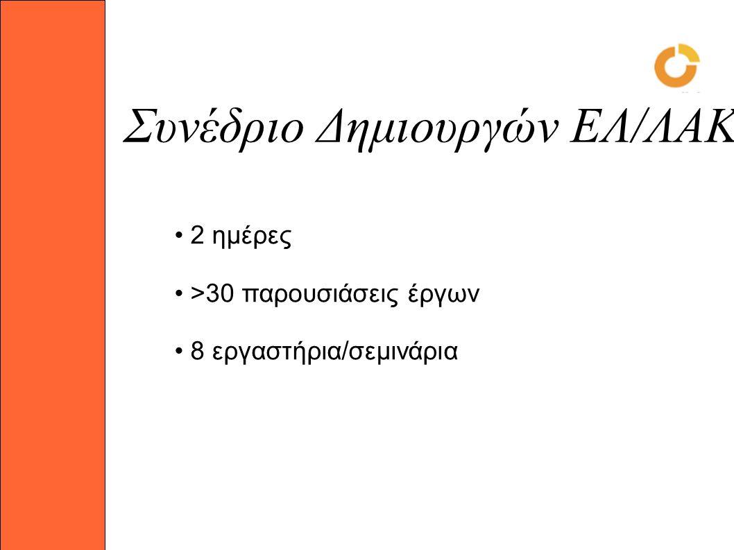 Συνέδριο Δημιουργών ΕΛ/ΛΑΚ 2 ημέρες >30 παρουσιάσεις έργων 8 εργαστήρια/σεμινάρια