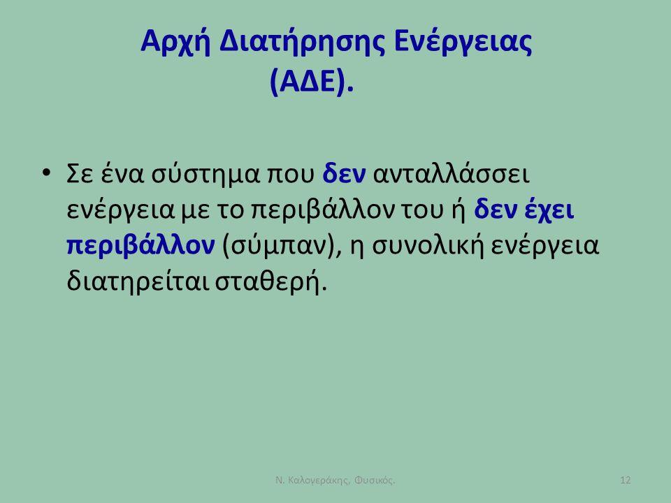 Αρχή Διατήρησης Ενέργειας (ΑΔΕ). Σε ένα σύστημα που δεν ανταλλάσσει ενέργεια με το περιβάλλον του ή δεν έχει περιβάλλον (σύμπαν), η συνολική ενέργεια