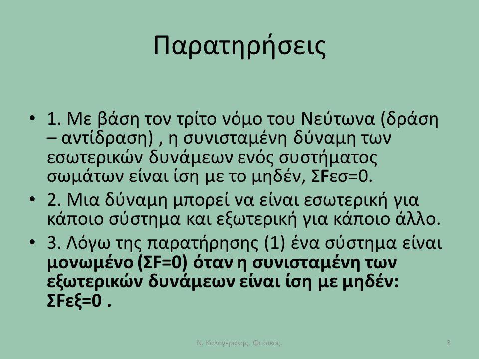 Παρατηρήσεις 3Ν. Καλογεράκης, Φυσικός. 1. Με βάση τον τρίτο νόμο του Νεύτωνα (δράση – αντίδραση), η συνισταμένη δύναμη των εσωτερικών δυνάμεων ενός συ