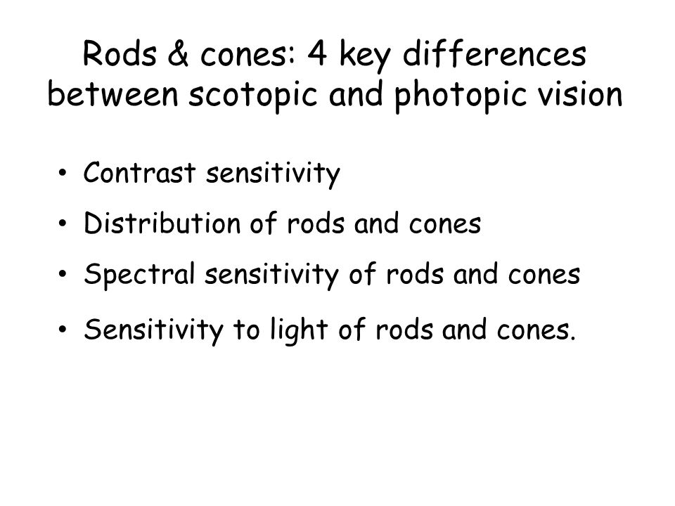 Rods & cones: 4 key differences between scotopic and photopic vision Contrast sensitivity Distribution of rods and cones Spectral sensitivity of rods and cones Sensitivity to light of rods and cones.