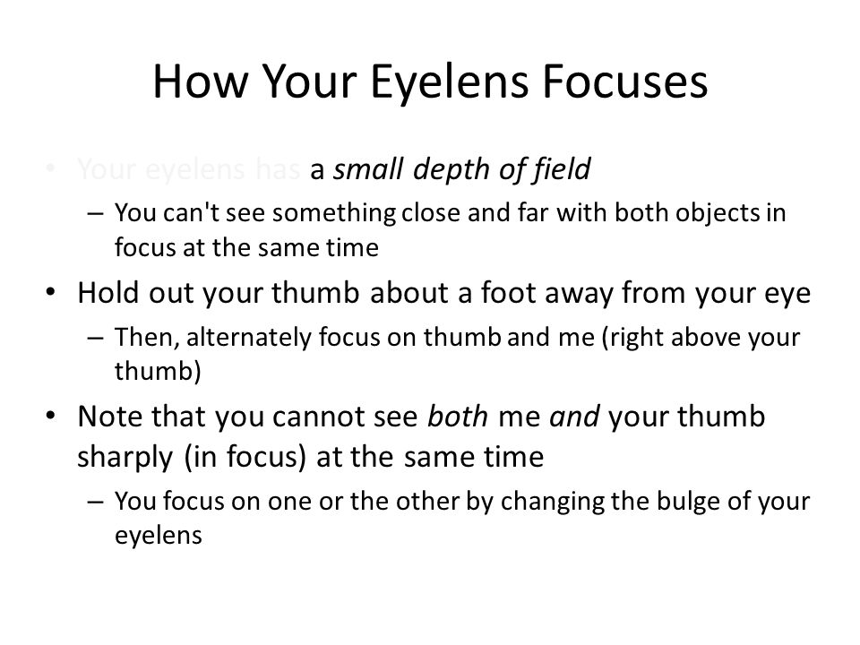 How Your Eyelens Focuses Your eyelens has a small depth of field – You can t see something close and far with both objects in focus at the same time Hold out your thumb about a foot away from your eye – Then, alternately focus on thumb and me (right above your thumb) Note that you cannot see both me and your thumb sharply (in focus) at the same time – You focus on one or the other by changing the bulge of your eyelens