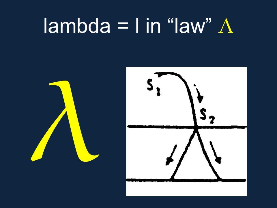 """λ lambda = l in """"law"""" Λ"""