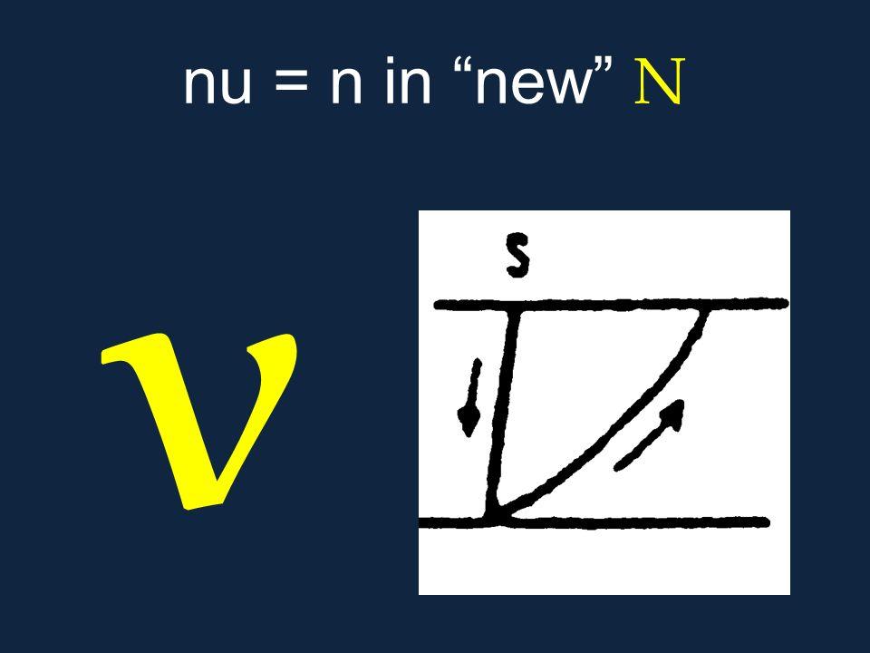 """ν nu = n in """"new"""" Ν"""