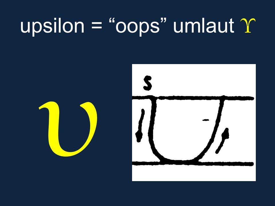 """υ upsilon = """"oops"""" umlaut Υ"""