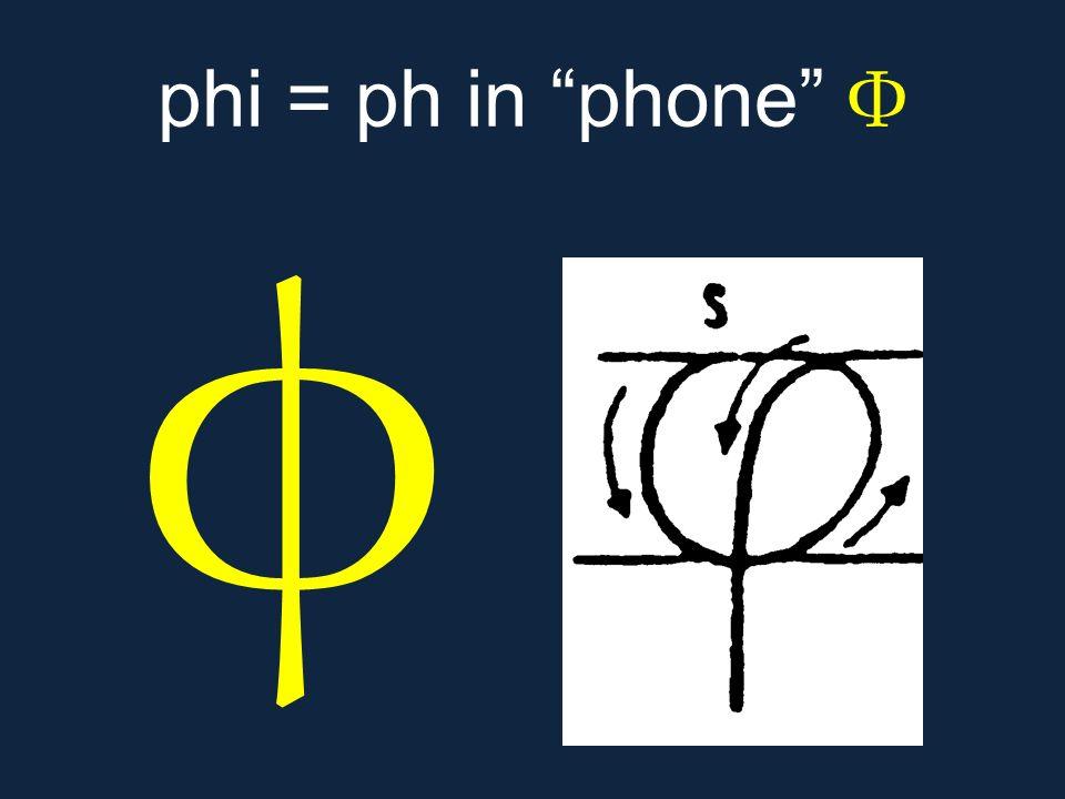 """φ phi = ph in """"phone"""" Φ"""