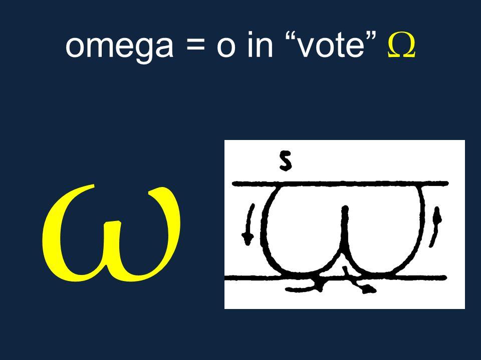 """ω omega = o in """"vote"""" Ω"""