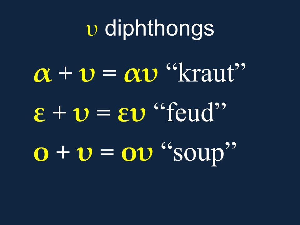 """υ diphthongs α + υ = αυ """"kraut"""" ε + υ = ευ """"feud"""" ο + υ = ου """"soup"""""""