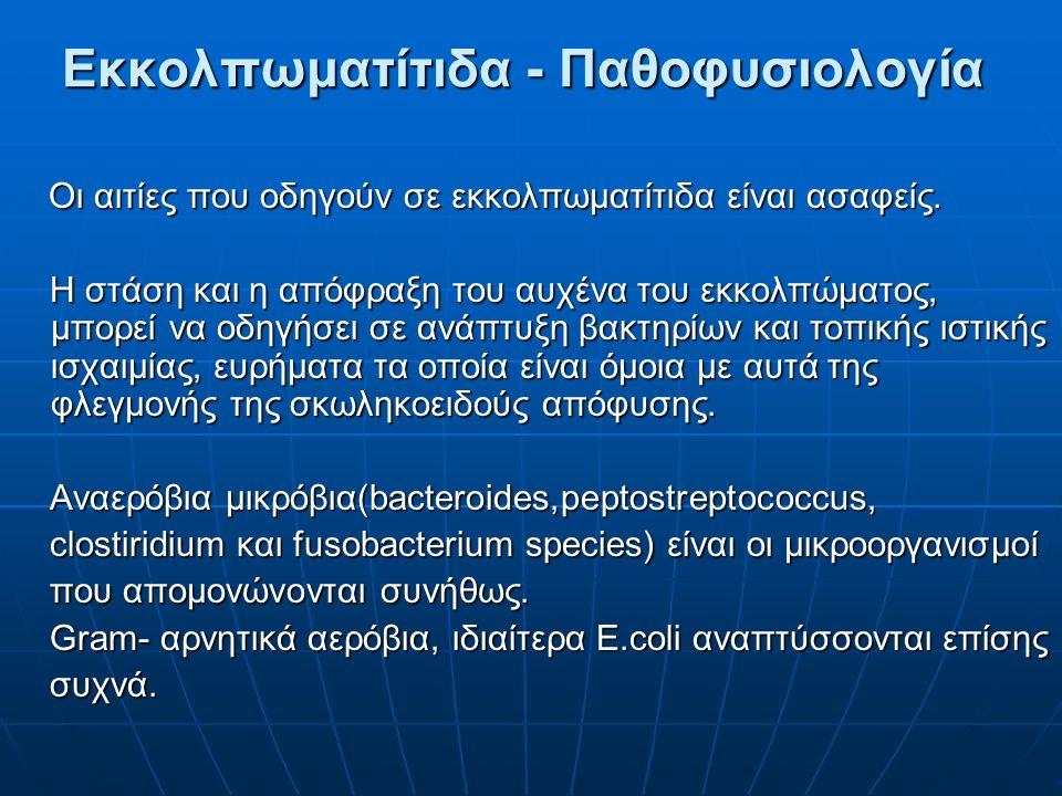 Εκκολπωματίτιδα - Παθοφυσιολογία Εκκολπωματίτιδα - Παθοφυσιολογία Oι αιτίες που οδηγούν σε εκκολπωματίτιδα είναι ασαφείς. Oι αιτίες που οδηγούν σε εκκ
