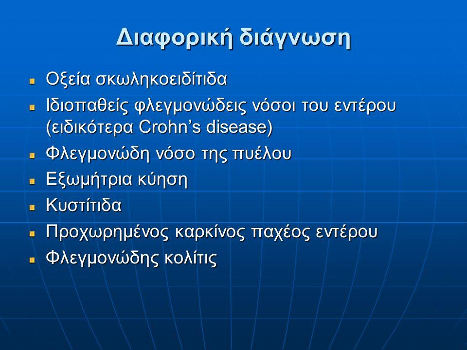 Διαφορική διάγνωση Οξεία σκωληκοειδίτιδα Ιδιοπαθείς φλεγμονώδεις νόσοι του εντέρου (ειδικότερα Crohn's disease) Φλεγμονώδη νόσο της πυέλου Εξωμήτρια κ