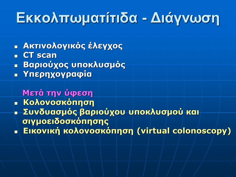 Ακτινολογικός έλεγχος Ακτινολογικός έλεγχος CT scan CT scan Βαριούχος υποκλυσμός Βαριούχος υποκλυσμός Υπερηχογραφία Υπερηχογραφία Μετά την ύφεση Μετά