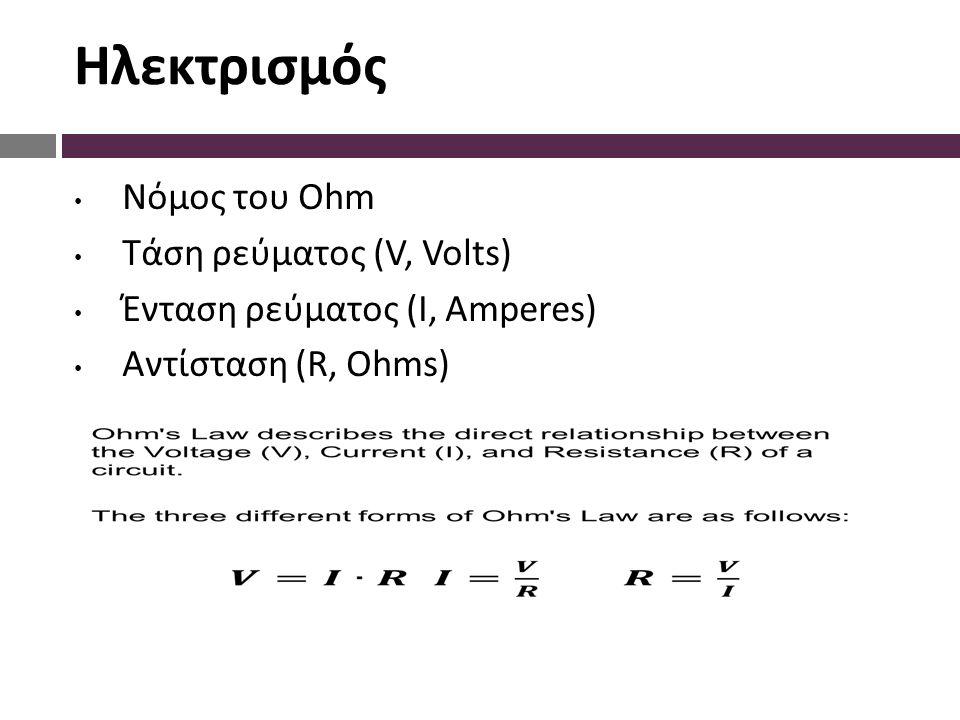 Ηλεκτρισμός Νόμος του Ohm Τάση ρεύματος (V, Volts) Ένταση ρεύματος (I, Amperes) Αντίσταση (R, Ohms)