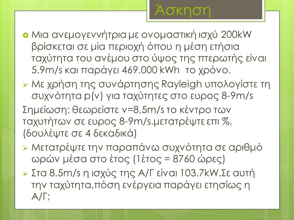 Άσκηση  Μια ανεμογεννήτρια με ονομαστική ισχύ 200kW βρίσκεται σε μία περιοχή όπου η μέση ετήσια ταχύτητα του ανέμου στο ύψος της πτερωτής είναι 5.9m/s και παράγει 469.000 kWh το χρόνο.