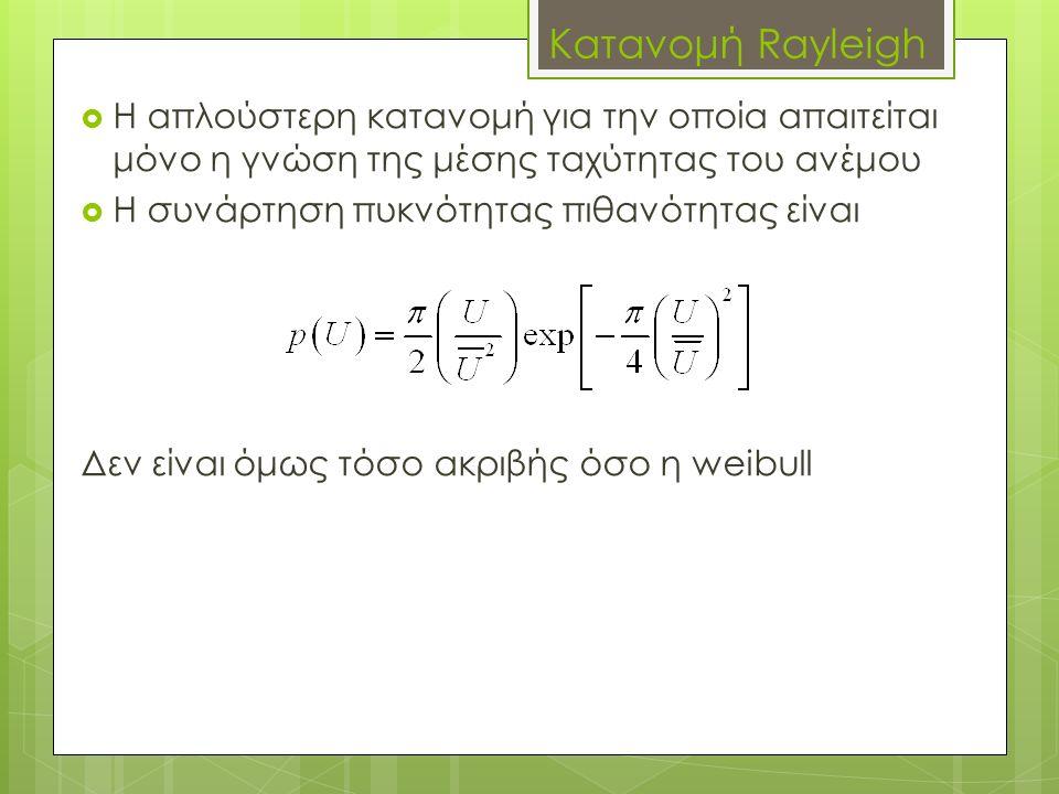Κατανομή Rayleigh  Η απλούστερη κατανομή για την οποία απαιτείται μόνο η γνώση της μέσης ταχύτητας του ανέμου  Η συνάρτηση πυκνότητας πιθανότητας είναι Δεν είναι όμως τόσο ακριβής όσο η weibull