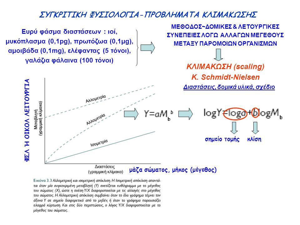 ΣΥΓΚΡΙΤΙΚΗ ΦΥΣΙΟΛΟΓΙΑ-ΠΡΟΒΛΗΜΑΤΑ ΚΛΙΜΑΚΩΣΗΣ Ευρύ φάσμα διαστάσεων : ιοί, μυκόπλασμα (0,1pg), πρωτόζωα (0,1μg), αμοιβάδα (0,1mg), ελέφαντας (5 τόνοι), γαλάζια φάλαινα (100 τόνοι) ΜΕΘΟΔΟΣ~ΔΟΜΙΚΕΣ & ΛΕΤΟΥΡΓΙΚΕΣ ΣΥΝΕΠΕΙΕΣ ΛΟΓΩ ΑΛΛΑΓΩΝ ΜΕΓΕΘΟΥΣ ΜΕΤΑΞΥ ΠΑΡΟΜΟΙΩΝ ΟΡΓΑΝΙΣΜΩΝ ΚΛΙΜΑΚΩΣΗ (scaling) K.