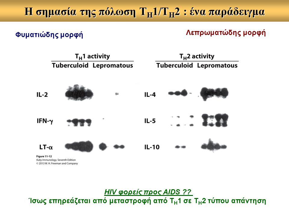 Η σημασία της πόλωση Τ Η 1/Τ Η 2 : ένα παράδειγμα Λεπρωματώδης μορφή Φυματιώδης μορφή HIV φορείς προς AIDS .