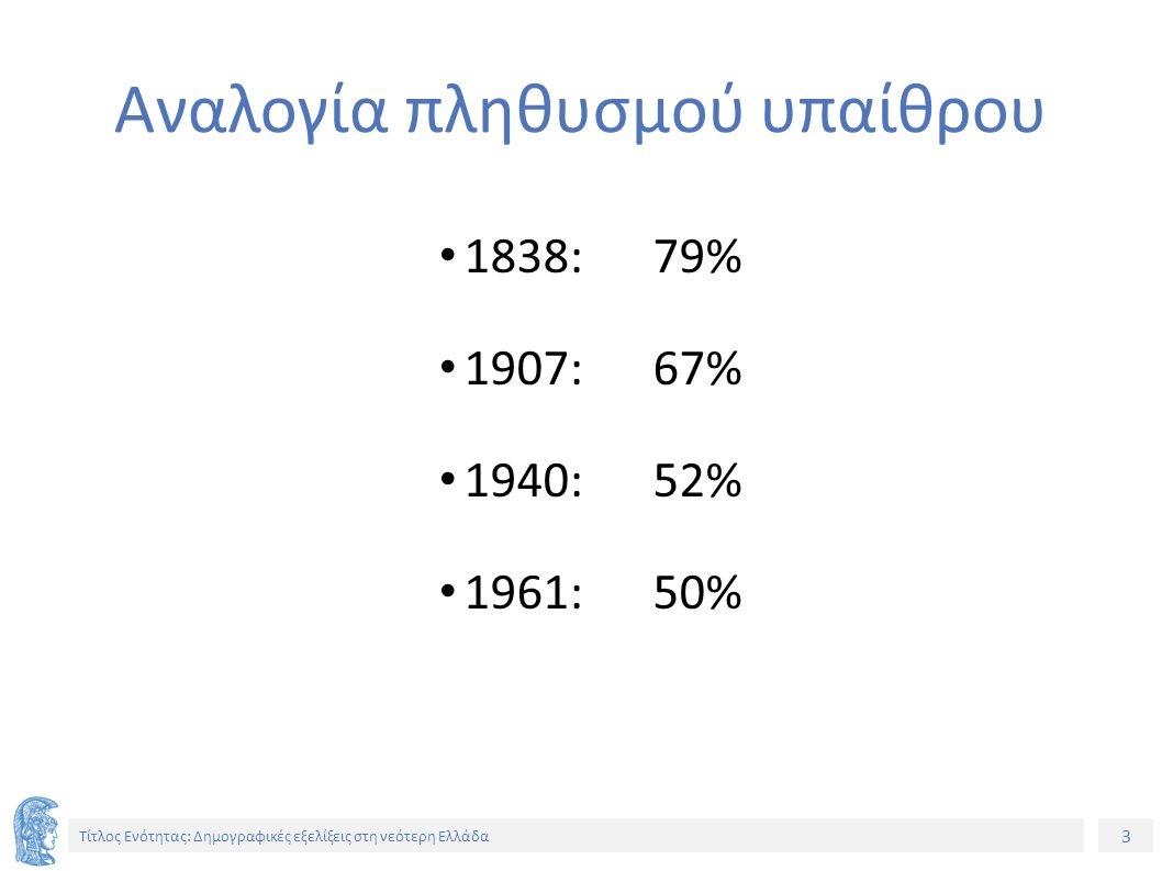 4 Τίτλος Ενότητας: Δημογραφικές εξελίξεις στη νεότερη Ελλάδα Έκταση π.