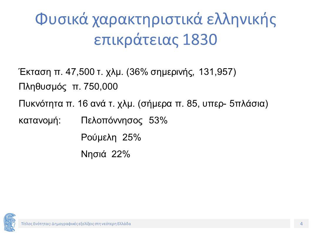 4 Τίτλος Ενότητας: Δημογραφικές εξελίξεις στη νεότερη Ελλάδα Έκταση π. 47,500 τ. χλμ. (36% σημερινής, 131,957) Πληθυσμός π. 750,000 Πυκνότητα π. 16 αν