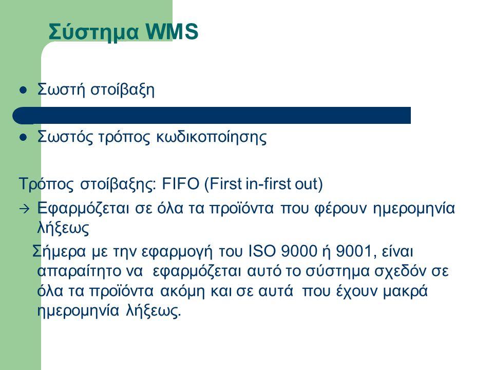 Σύστημα WMS Σωστή στοίβαξη Σωστός τρόπος κωδικοποίησης Τρόπος στοίβαξης: FIFO (First in-first out)  Εφαρμόζεται σε όλα τα προϊόντα που φέρουν ημερομηνία λήξεως Σήµερα µε την εφαρμογή του ISO 9000 ή 9001, είναι απαραίτητο να εφαρμόζεται αυτό το σύστηµα σχεδόν σε όλα τα προϊόντα ακόµη και σε αυτά που έχουν µακρά ημερομηνία λήξεως.