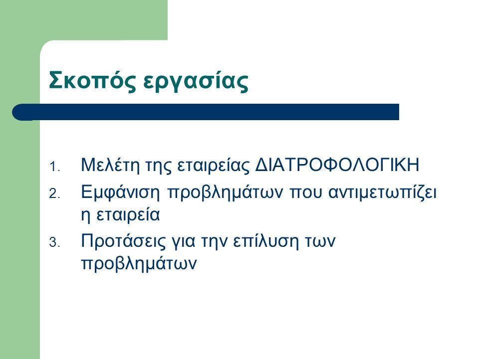 Σκοπός εργασίας 1. Μελέτη της εταιρείας ΔΙΑΤΡΟΦΟΛΟΓΙΚΗ 2.