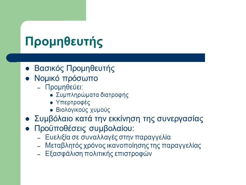 Προμηθευτής Βασικός Προμηθευτής Νομικό πρόσωπο – Προμηθεύει: Συμπληρώματα διατροφής Υπερτροφές Βιολογικούς χυμούς Συμβόλαιο κατά την εκκίνηση της συνεργασίας Προϋποθέσεις συμβολαίου: – Ευελιξία σε συναλλαγές στην παραγγελία – Μεταβλητός χρόνος ικανοποίησης της παραγγελίας – Εξασφάλιση πολιτικής επιστροφών