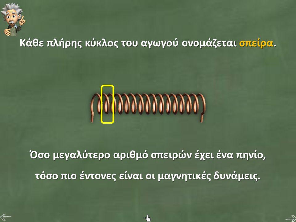Κάθε πλήρης κύκλος του αγωγού ονομάζεται σπείρα. Όσο μεγαλύτερο αριθμό σπειρών έχει ένα πηνίο, τόσο πιο έντονες είναι οι μαγνητικές δυνάμεις.