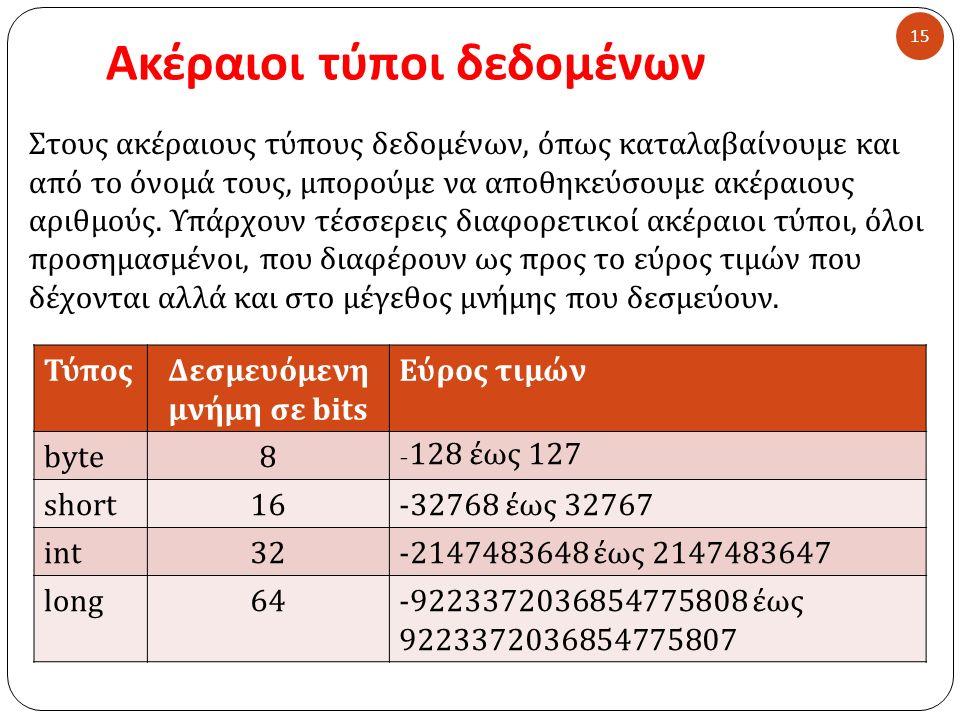 Ακέραιοι τύποι δεδομένων 15 Στους ακέραιους τύπους δεδομένων, όπως καταλαβαίνουμε και από το όνομά τους, μπορούμε να αποθηκεύσουμε ακέραιους αριθμούς.