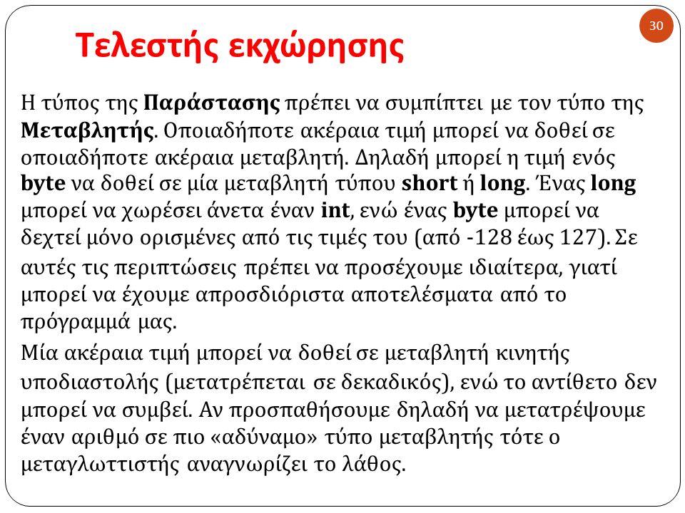 Τελεστής εκχώρησης 30 Η τύπος της Παράστασης πρέπει να συμπίπτει με τον τύπο της Μεταβλητής.