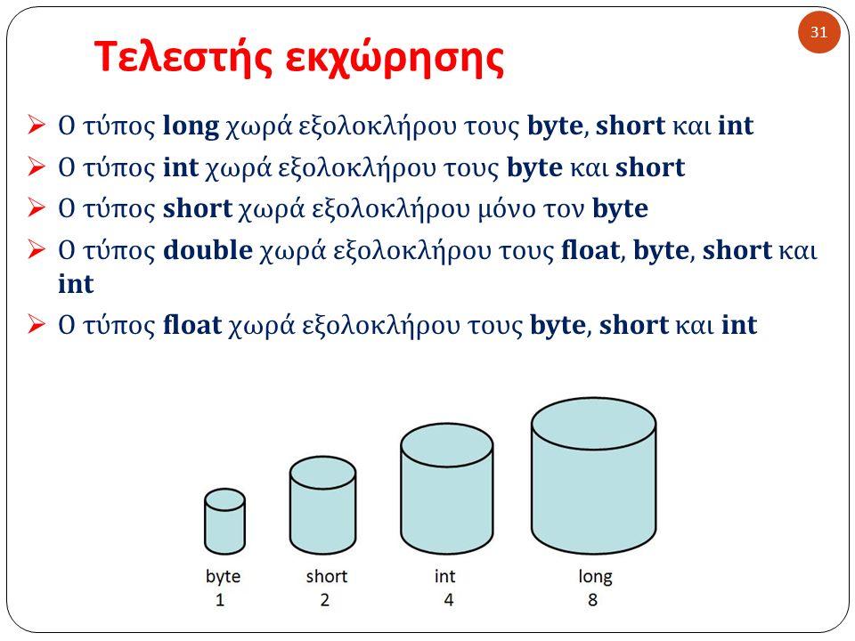 Τελεστής εκχώρησης 31  Ο τύπος long χωρά εξολοκλήρου τους byte, short και int  Ο τύπος int χωρά εξολοκλήρου τους byte και short  Ο τύπος short χωρά εξολοκλήρου μόνο τον byte  Ο τύπος double χωρά εξολοκλήρου τους float, byte, short και int  Ο τύπος float χωρά εξολοκλήρου τους byte, short και int