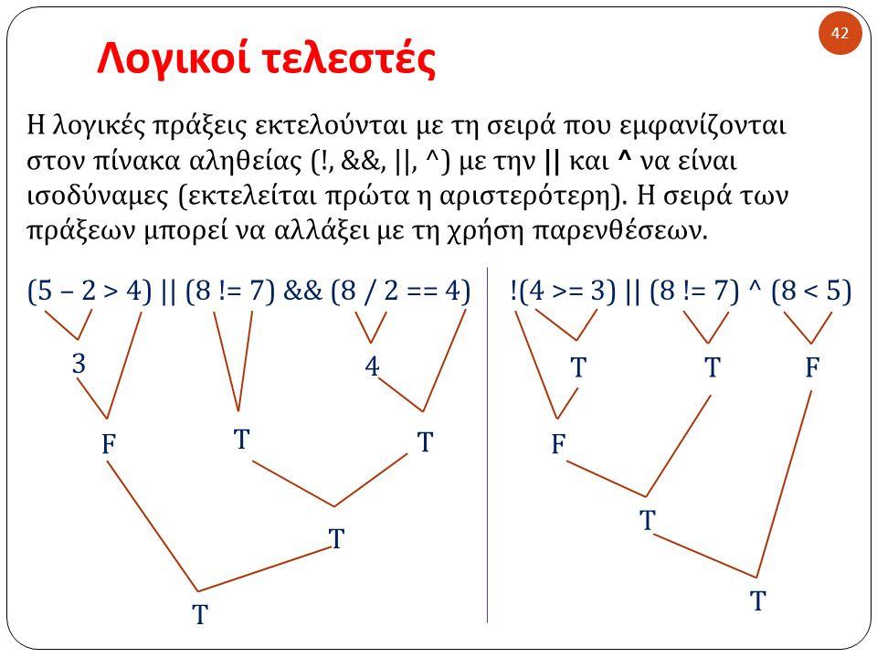 Λογικοί τελεστές 42 Η λογικές πράξεις εκτελούνται με τη σειρά που εμφανίζονται στον πίνακα αληθείας (!, &&, ||, ^) με την || και ^ να είναι ισοδύναμες ( εκτελείται πρώτα η αριστερότερη ).