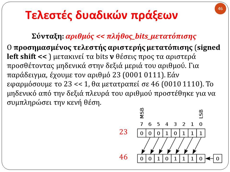 Τελεστές δυαδικών πράξεων 46 Σύνταξη : αριθμός << πλήθος _ bits_μετατόπισης Ο προσημασμένος τελεστής αριστερής μετατόπισης (signed left shift << ) μετακινεί τα bits ν θέσεις προς τα αριστερά προσθέτοντας μηδενικά στην δεξιά μεριά του αριθμού.