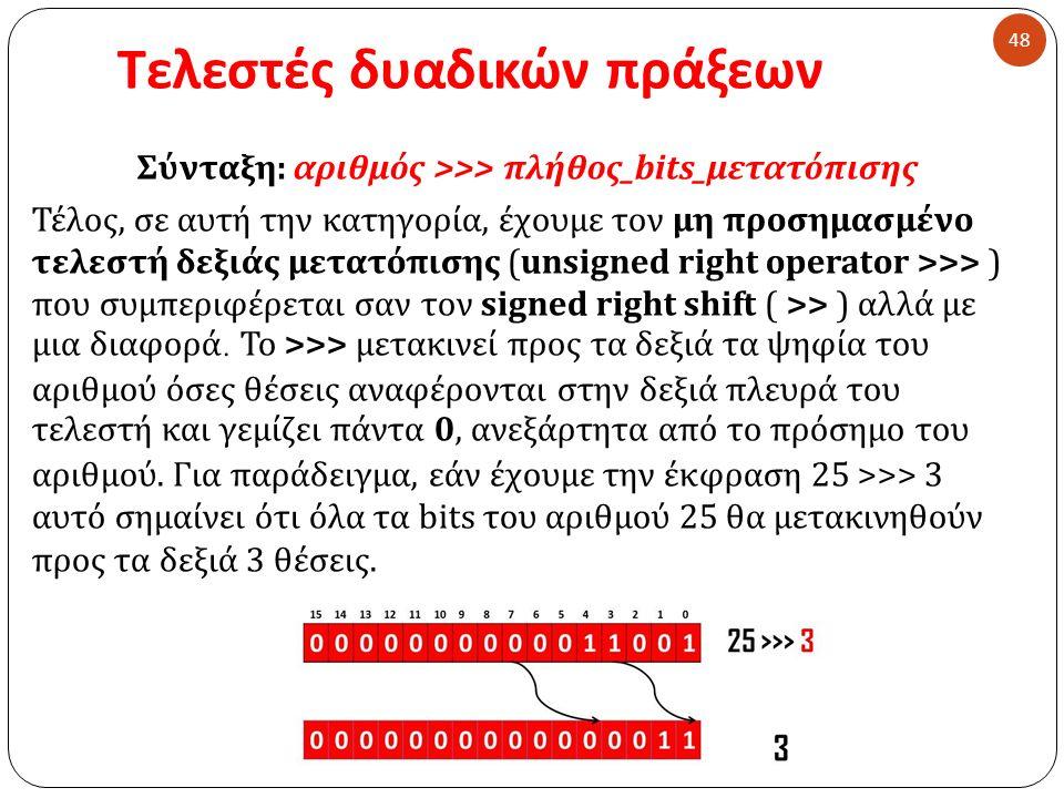 Τελεστές δυαδικών πράξεων 48 Σύνταξη : αριθμός >>> πλήθος _ bits_μετατόπισης Τέλος, σε αυτή την κατηγορία, έχουμε τον μη προσημασμένο τελεστή δεξιάς μετατόπισης ( un signed right operator > > > ) που συμπεριφέρεται σαν τον signed right shift ( >> ) αλλά με μια διαφορά.