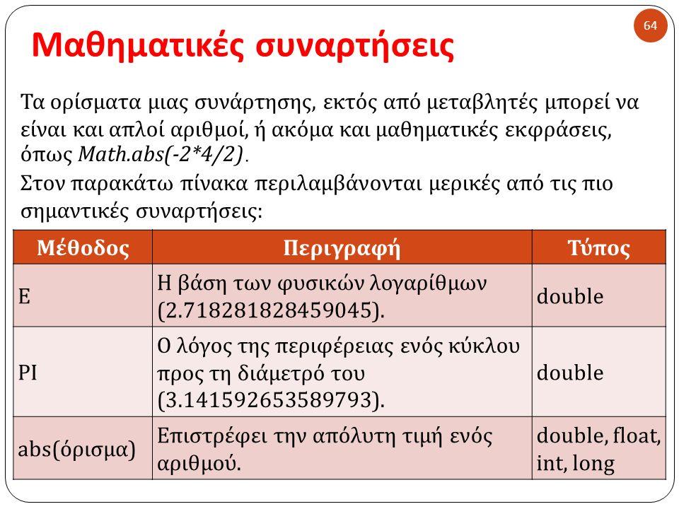 Μαθηματικές συναρτήσεις 64 Τα ορίσματα μιας συνάρτησης, εκτός από μεταβλητές μπορεί να είναι και απλοί αριθμοί, ή ακόμα και μαθηματικές εκφράσεις, όπως Math.abs(-2*4/2).