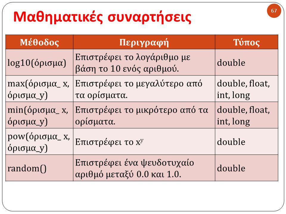 Μαθηματικές συναρτήσεις 67 ΜέθοδοςΠεριγραφήΤύπος log10(όρισμα) Επιστρέφει το λογάριθμο με βάση το 10 ενός αριθμού. double max(όρισμα_ x, όρισμα_y) Επι