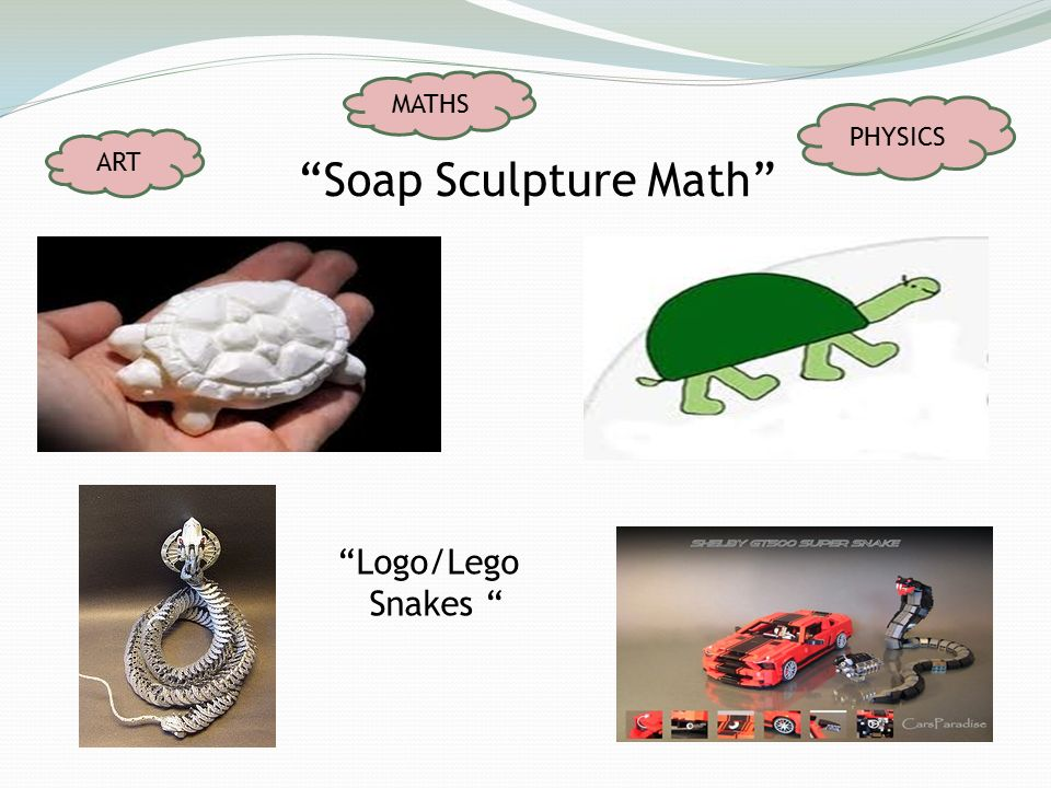 Soap Sculpture Math Logo/Lego Snakes ART MATHS PHYSICS