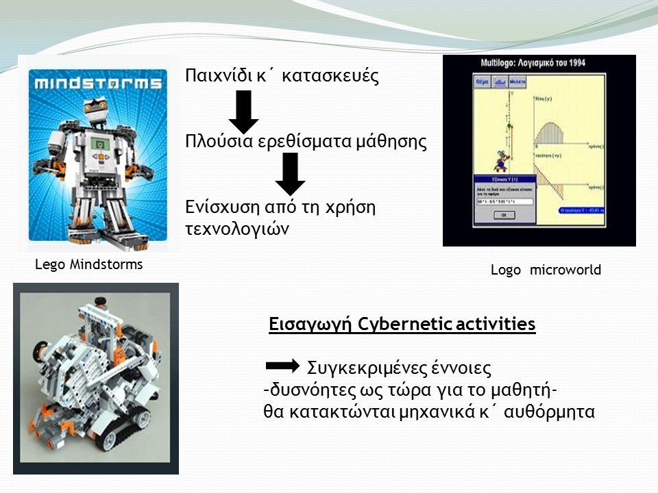 Lego Mindstorms Logo microworld Παιχνίδι κ΄ κατασκευές Πλούσια ερεθίσματα μάθησης Ενίσχυση από τη χρήση τεχνολογιών Εισαγωγή Cybernetic activities Συγκεκριμένες έννοιες –δυσνόητες ως τώρα για το μαθητή- θα κατακτώνται μηχανικά κ΄ αυθόρμητα