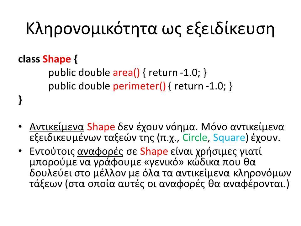 Κληρονομικότητα ως εξειδίκευση class Shape { public double area() { return -1.0; } public double perimeter() { return -1.0; } } Αντικείμενα Shape δεν έχουν νόημα.