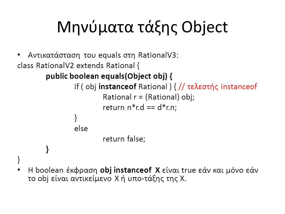 Μηνύματα τάξης Object Αντικατάσταση του equals στη RationalV3: class RationalV2 extends Rational { public boolean equals(Object obj) { if ( obj instanceof Rational ) { // τελεστής instanceof Rational r = (Rational) obj; return n*r.d == d*r.n; } else return false; } Η boolean έκφραση obj instanceof X είναι true εάν και μόνο εάν το obj είναι αντικείμενο Χ ή υπο-τάξης της X.