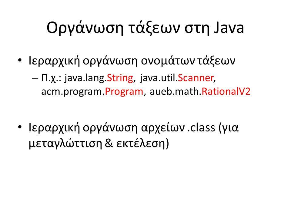 Οργάνωση τάξεων στη Java Ιεραρχική οργάνωση ονομάτων τάξεων – Π.χ.: java.lang.String, java.util.Scanner, acm.program.Program, aueb.math.RationalV2 Ιεραρχική οργάνωση αρχείων.class (για μεταγλώττιση & εκτέλεση)