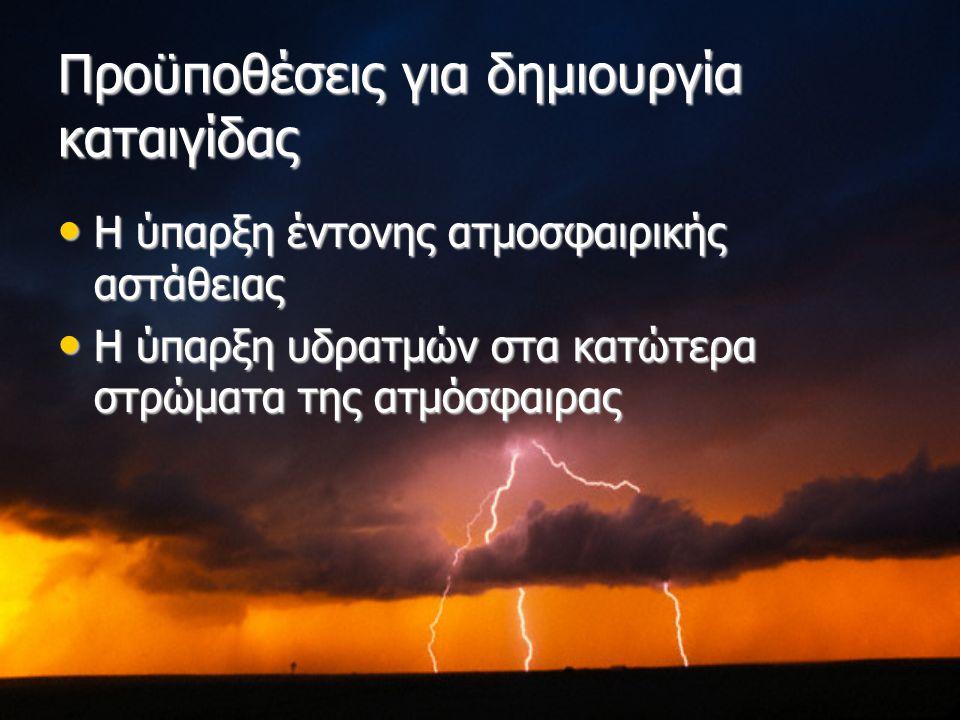 Προϋποθέσεις για δημιουργία καταιγίδας Η ύπαρξη έντονης ατμοσφαιρικής αστάθειας Η ύπαρξη έντονης ατμοσφαιρικής αστάθειας Η ύπαρξη υδρατμών στα κατώτερα στρώματα της ατμόσφαιρας Η ύπαρξη υδρατμών στα κατώτερα στρώματα της ατμόσφαιρας