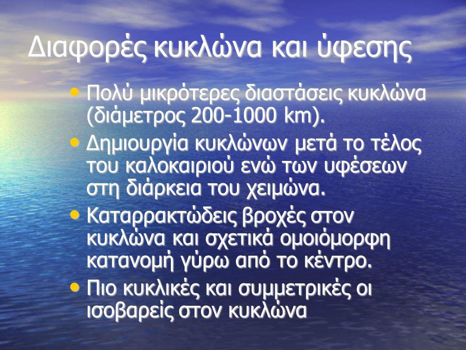 Διαφορές κυκλώνα και ύφεσης Πολύ μικρότερες διαστάσεις κυκλώνα (διάμετρος 200-1000 km).