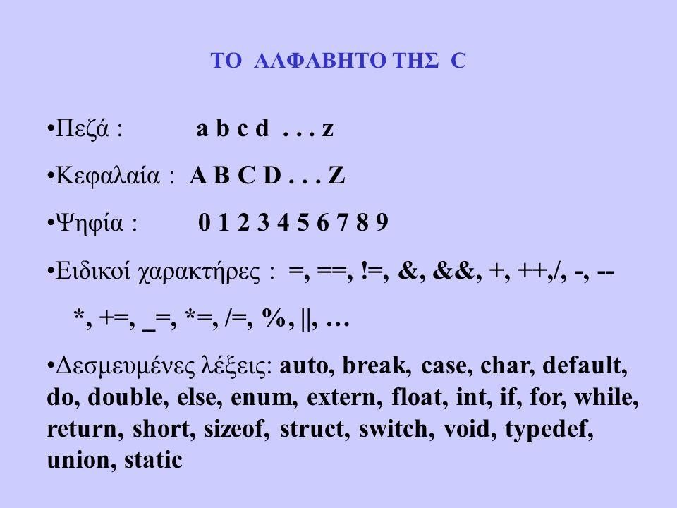 ΤΟ ΑΛΦΑΒΗΤΟ ΤΗΣ C Πεζά : a b c d... z Κεφαλαία : A B C D...