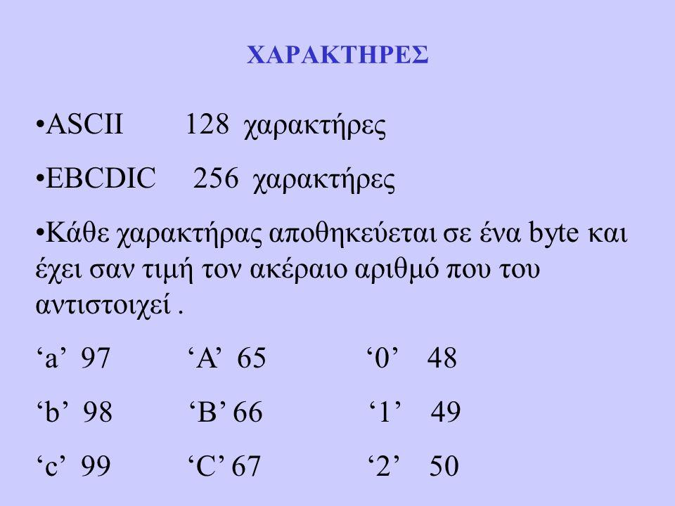 ΧΑΡΑΚΤΗΡΕΣ ASCII 128 χαρακτήρες EBCDIC 256 χαρακτήρες Κάθε χαρακτήρας αποθηκεύεται σε ένα byte και έχει σαν τιμή τον ακέραιο αριθμό που του αντιστοιχεί.