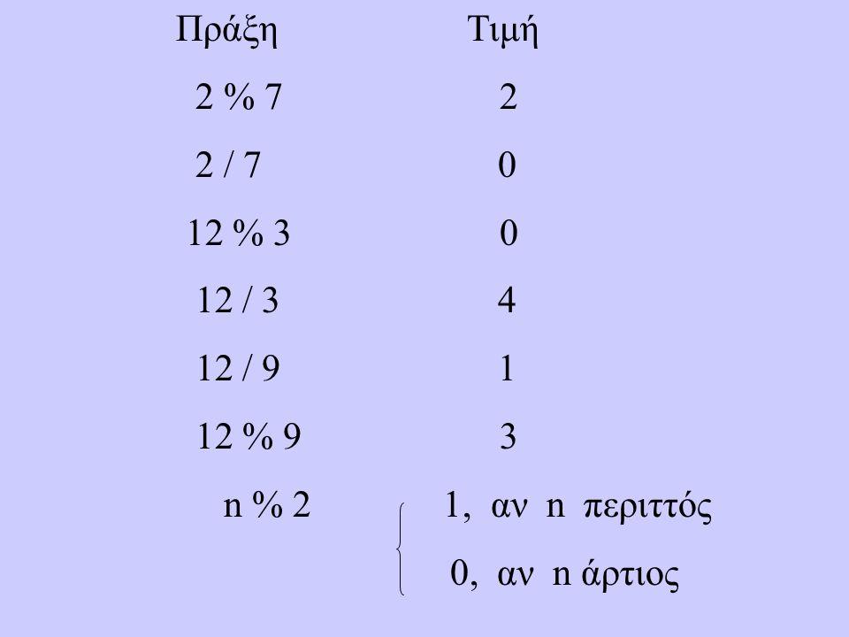 Πράξη Τιμή 2 % 7 2 2 / 7 0 12 % 3 0 12 / 3 4 12 / 9 1 12 % 9 3 n % 2 1, αν n περιττός 0, αν n άρτιος
