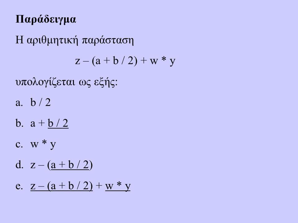 Παράδειγμα Η αριθμητική παράσταση z – (a + b / 2) + w * y υπολογίζεται ως εξής: a.b / 2 b.a + b / 2 c.w * y d.z – (a + b / 2) e.z – (a + b / 2) + w * y